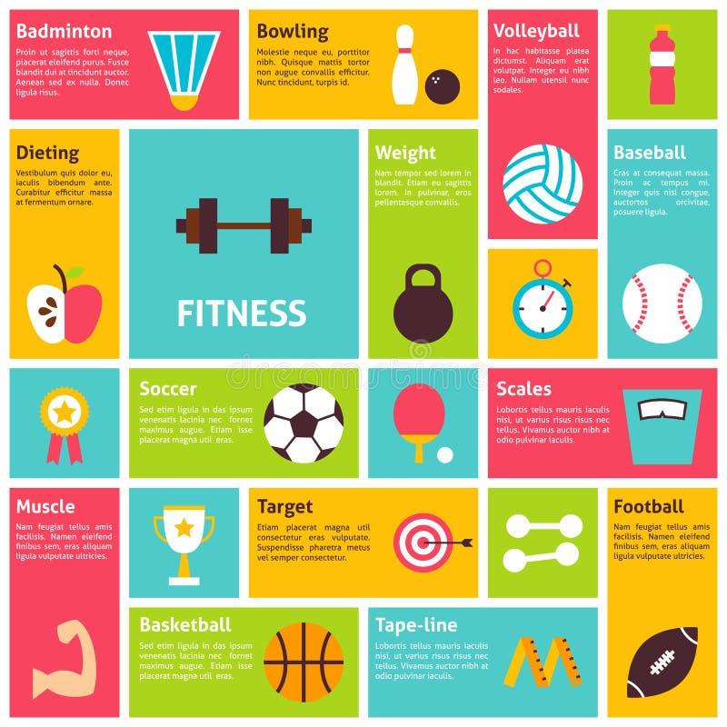 Recreação lisa do esporte de Infographic dos ícones do vetor do projeto ilustração do vetor