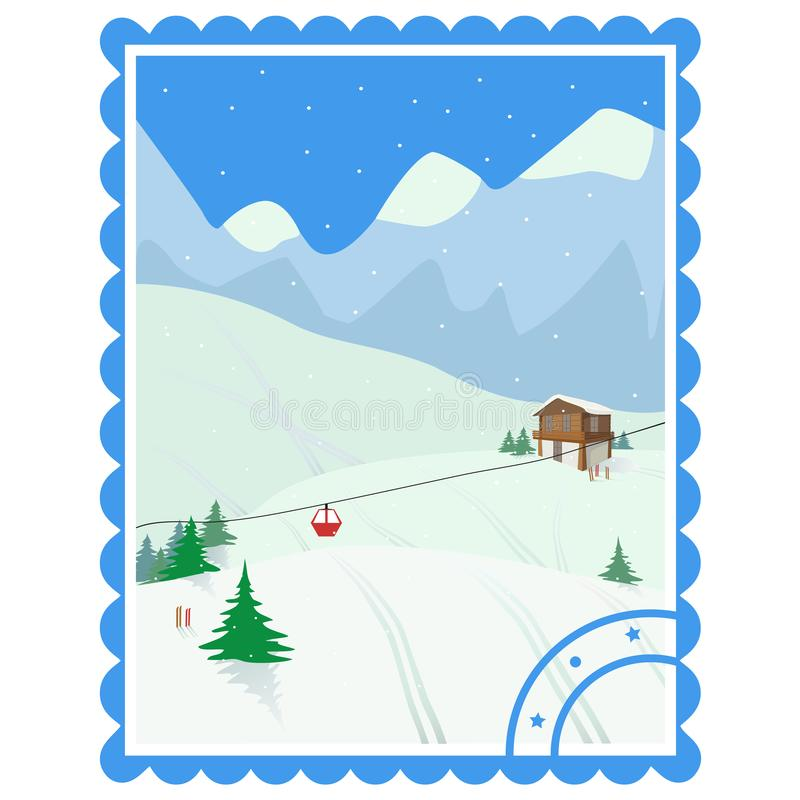 recreação Ski Holidays Paisagem do inverno com casa da montanha, árvores, teleférico, esquis ilustração do vetor