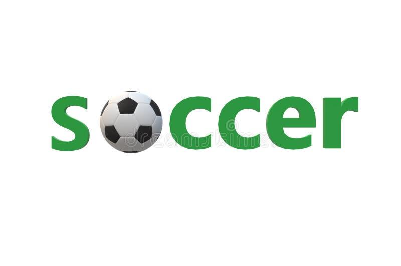 Recreação verde preta branca do esporte do texto do fundo da bola do futebol do texto do futebol ilustração stock