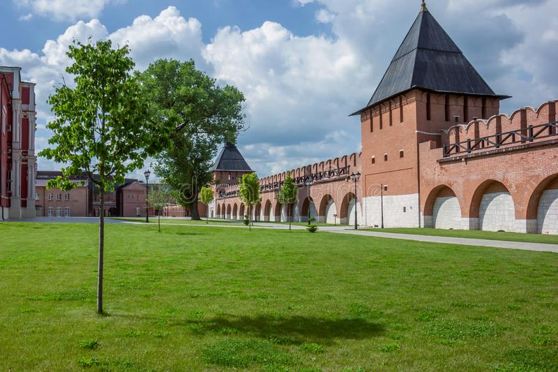 Recreated central part of Tula`s kremlin. Russia. View of The Recreated central part of Tula`s kremlin. Russia stock image