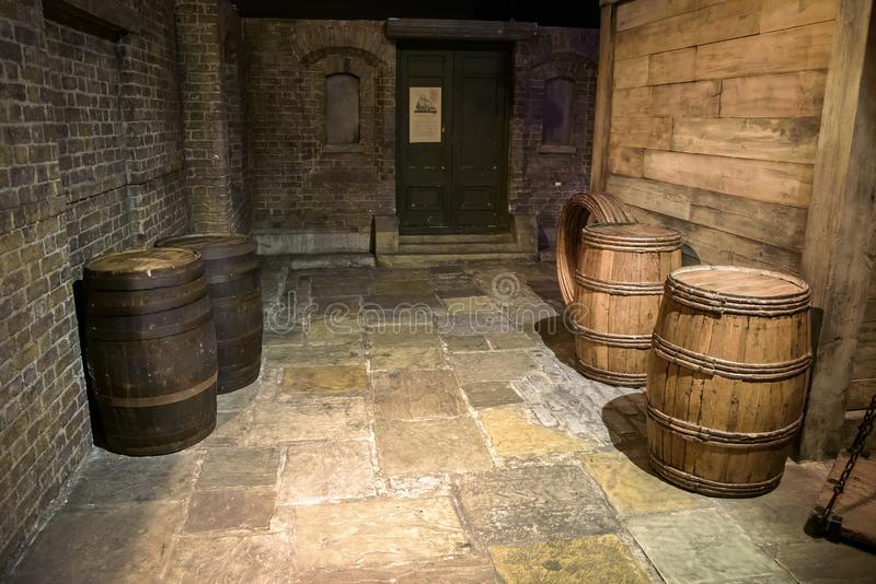 Recreated 18th centrury Legal Quay in Museum of Docklands stock images