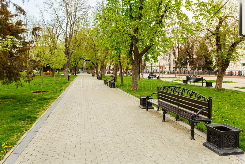 Recreatie van het de lente de stedelijke landschap van de parkbank stock fotografie