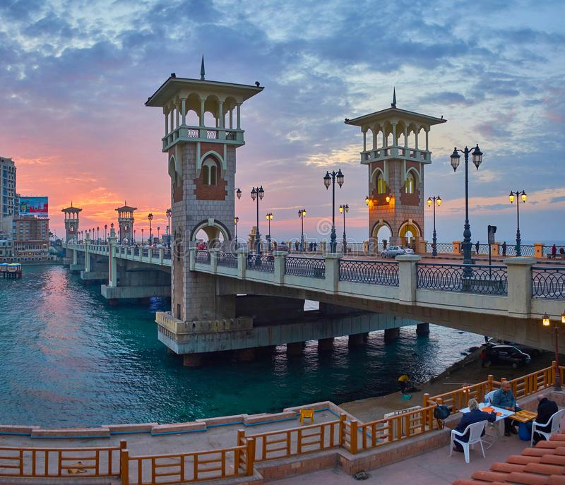 Recreatief gebied in de buurt van Stanley, Alexandrië, Egypte stock foto
