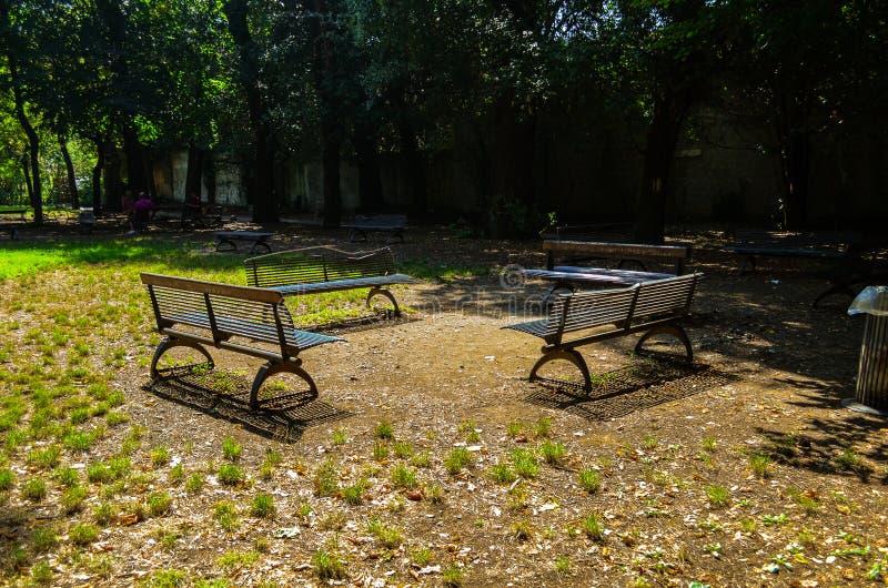 Recreatiegebied met banken in het park royalty-vrije stock afbeeldingen