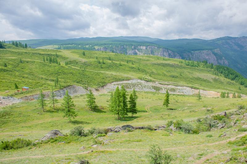 Recreation area in Altai mountains with home Russia royalty free stock photos