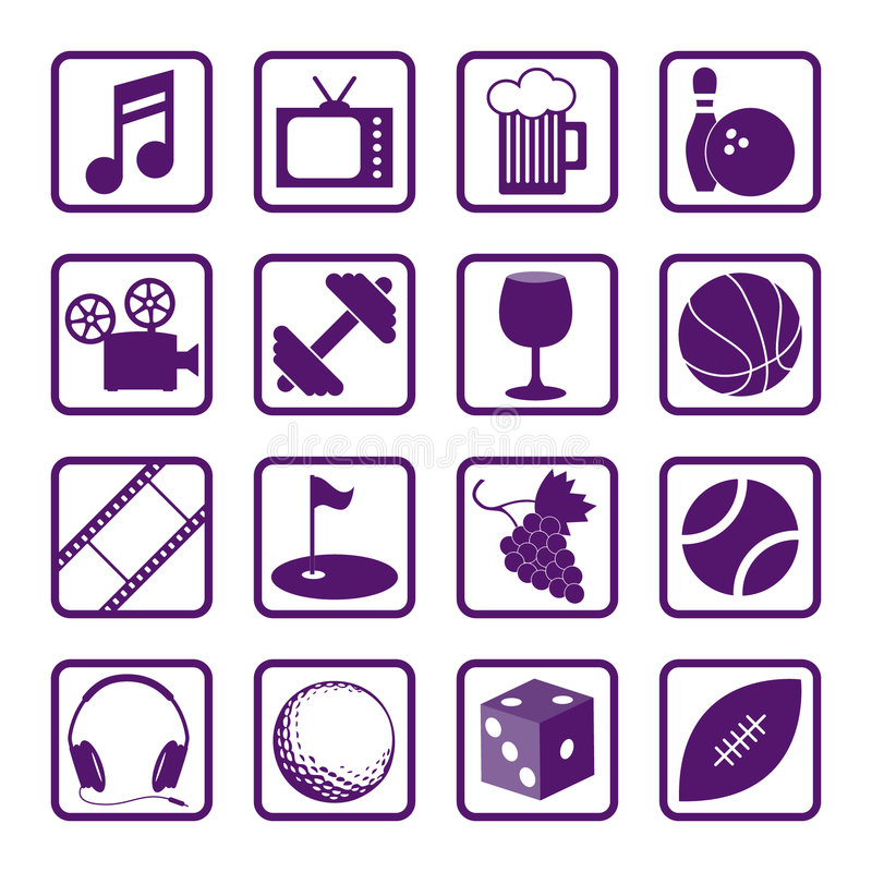 Download Recreation Icons stock vector. Illustration of film, movie - 1463791