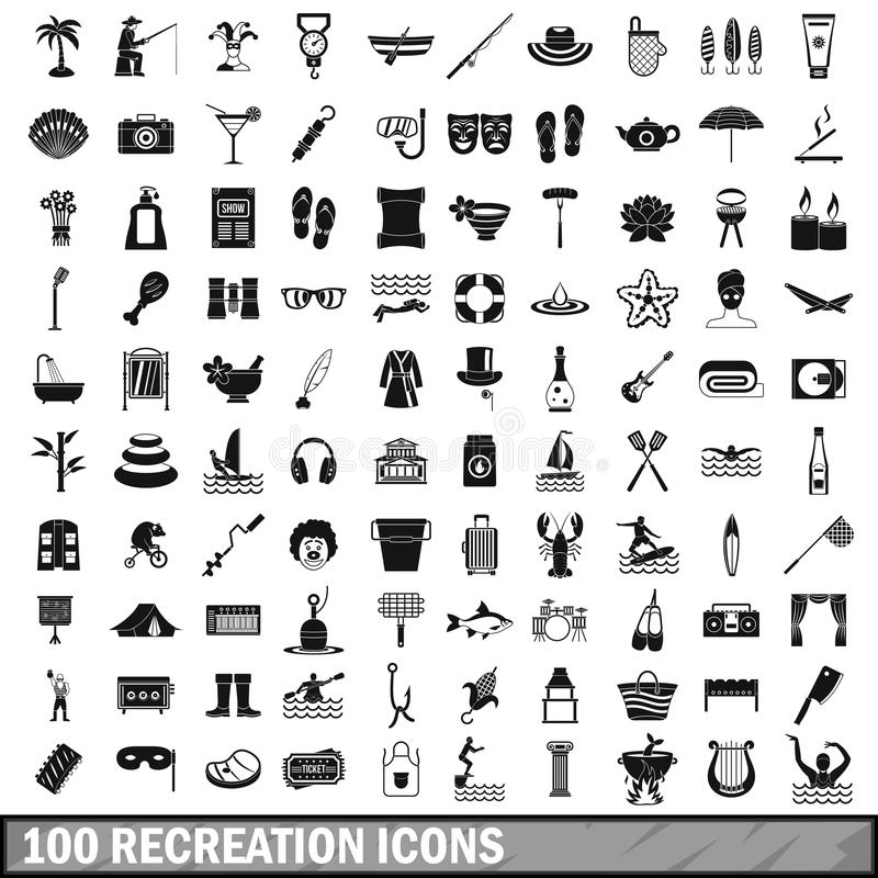 100 recreation icons set, simple style. 100 recreation icons set in simple style for any design vector illustration royalty free illustration