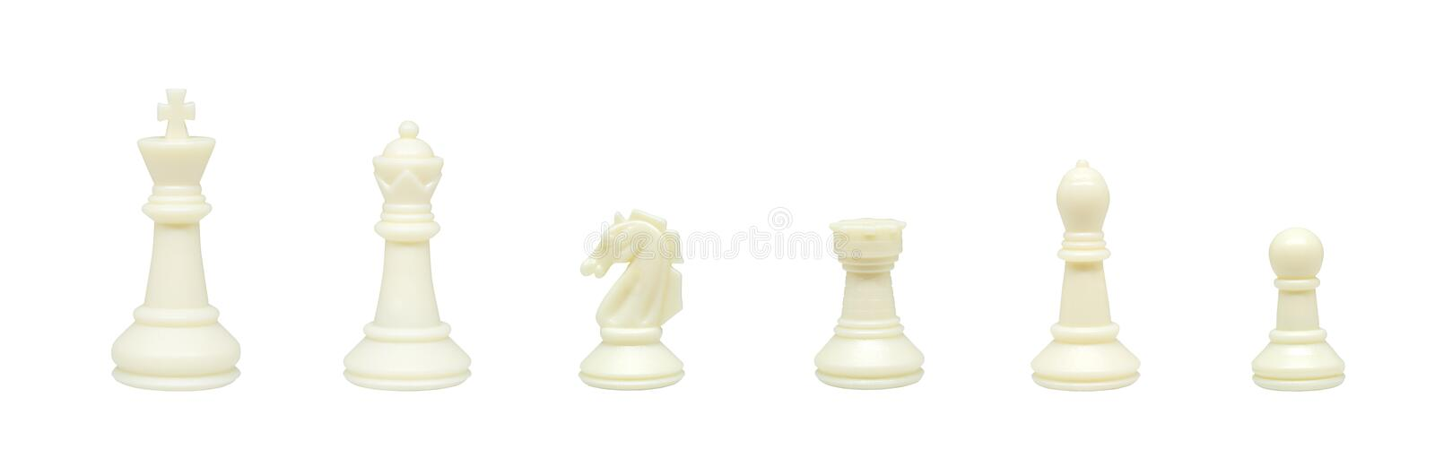 Row of set of six white chess pieces figurines standing on white background. royalty free stock images