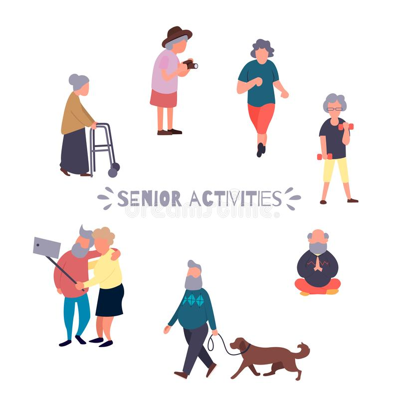Recreation and leisure senior activities concept. Group of active old people. Elder people vector background. Cartoon stock illustration