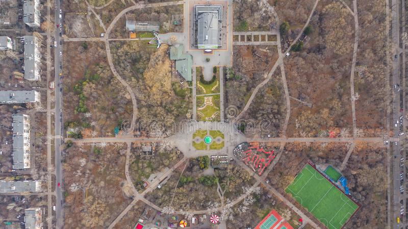 Recreation Park Gorky in Odessa. One of the green islands of Odessa. Bird`s-eye view. January 2019. Gorky Park is a popular recreation and entertainment place royalty free stock image
