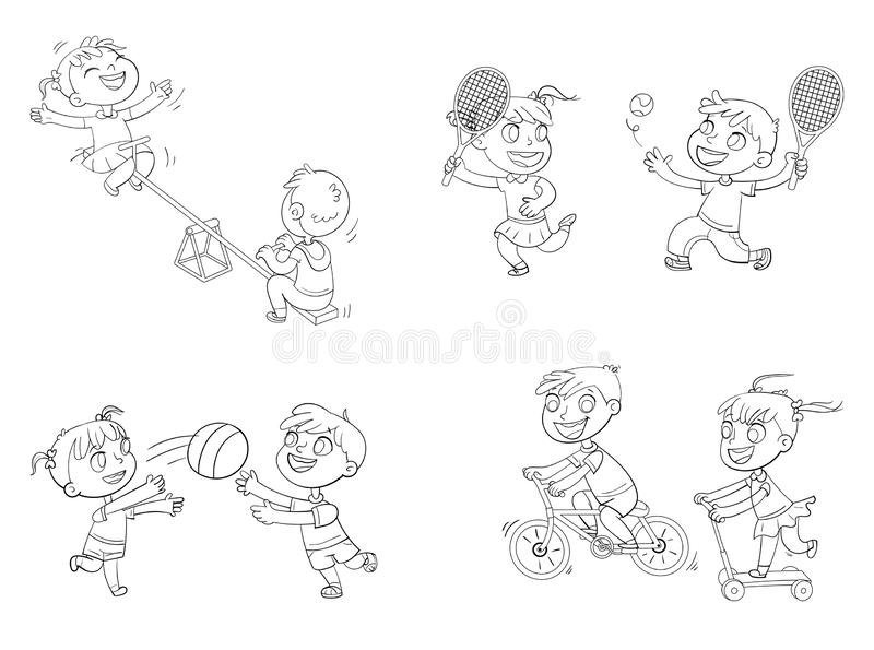 Recreation park. Playground. Kids zone. Place for games. Coloring book. Boy on bike. Girl on scooter. Children ride on a swing. Boy and girl playing with a ball royalty free illustration