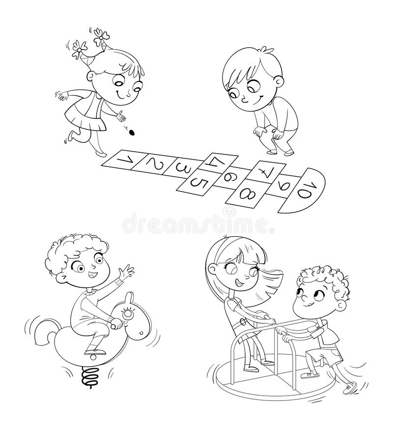Recreation park. Playground. Kids zone. Place for games. Coloring book. Hopscotch. Boy riding on the spring rocking-horse. Children ride on small carousel in vector illustration