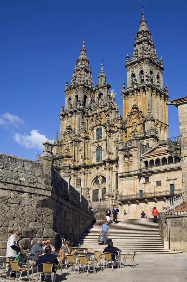 Recreation for the Saint James Cathedral Compostela stock images