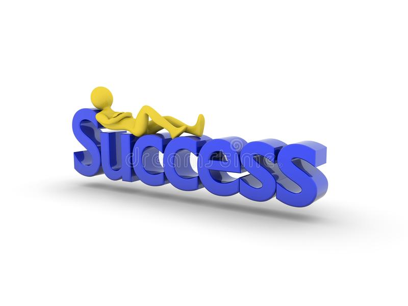 Recreation on success. Recreation after success. High Resolution 3D render isolated on white royalty free illustration