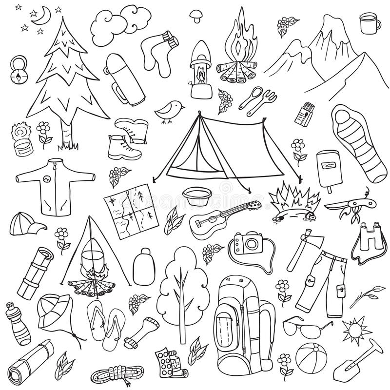 Recreation. Tourism and camping set. Hand drawn doodle Elements - vector illustration stock illustration