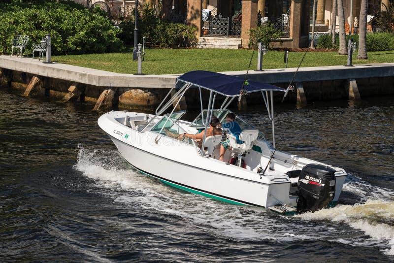 White motor boat on Intracoastal Waterway stock photo