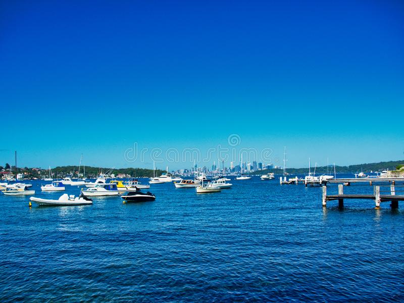 Recreational Boats Moored in Watsons Bay, Sydney Harbour, Australia. Many small white recreational and sports boats moored or anchored in Watsons Bay, Sydney stock photos