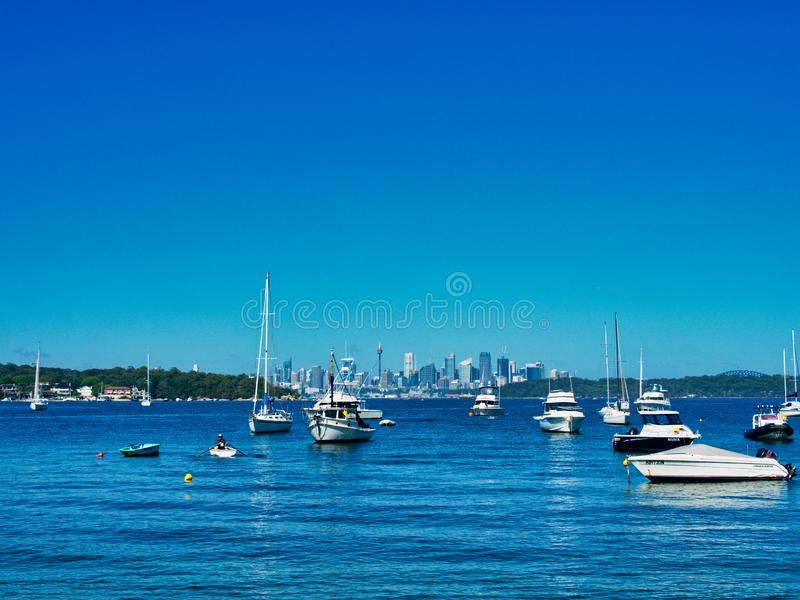 Recreational Boats Moored in Watsons Bay, Sydney Harbour, Australia. Many small white recreational and sports boats moored or anchored in Watsons Bay, Sydney royalty free stock photo