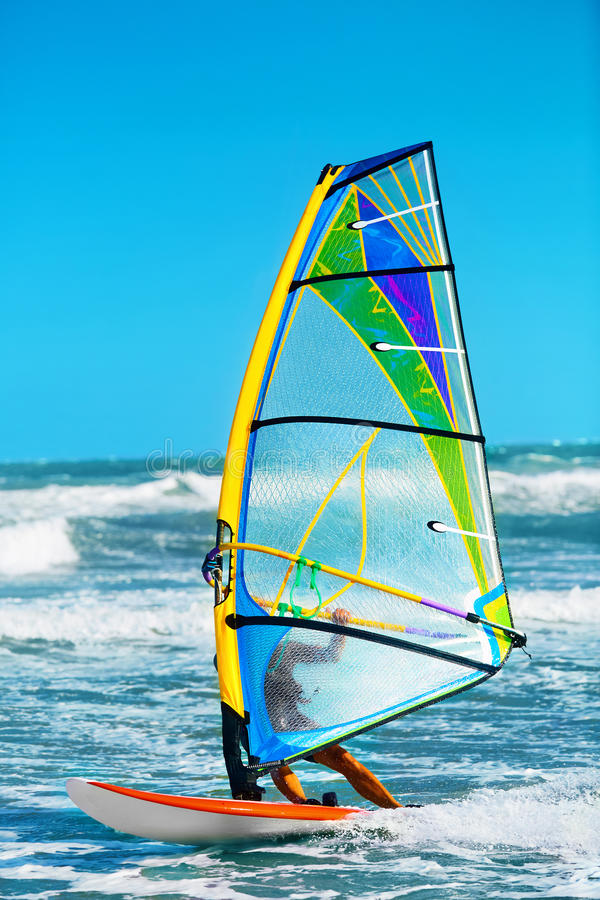 Recreational Extreme Water Sports. Windsurfing. Surfing Wind Act stock photos