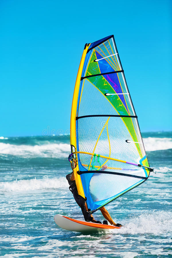 Recreational Extreme Water Sports. Windsurfing. Surfing Wind Act stock photo