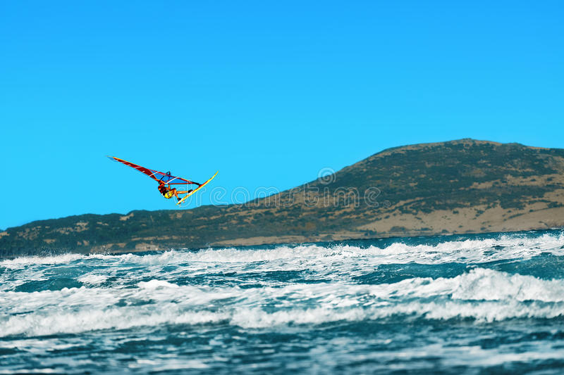 Recreational Extreme Water Sports. Windsurfing. Surfing Wind Act stock photography