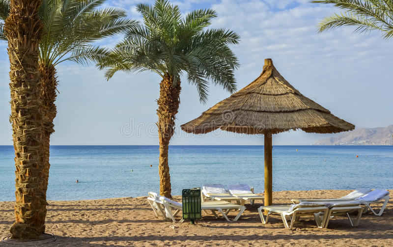 Recreational facilities on sandy beach, Eilat. Eilat is a popular resort and recreational city of Israel royalty free stock images
