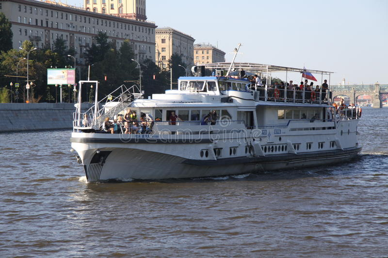 Recreational river tram. With passengers and tourists on the Moscow river in Moscow, Russia stock image