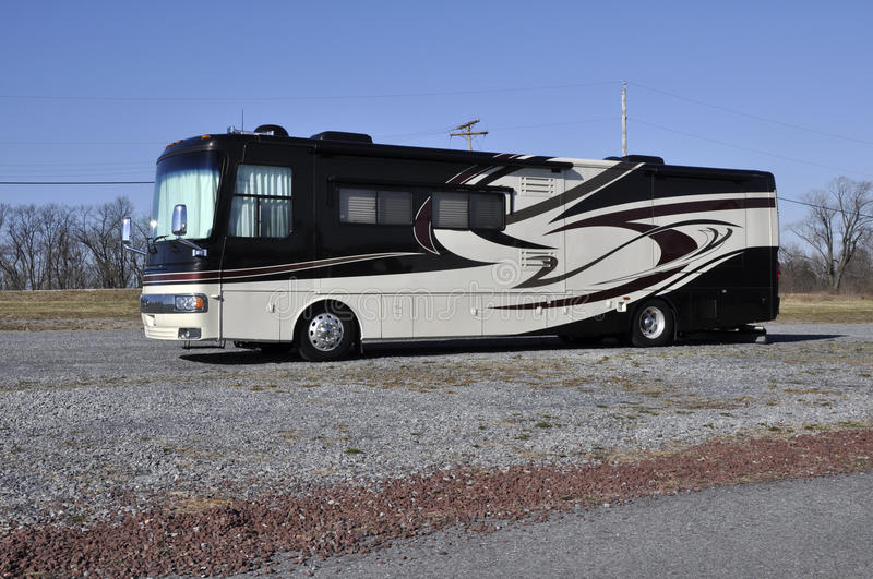 Recreational vehicle. Large parked recreational vehicle or RV royalty free stock photos
