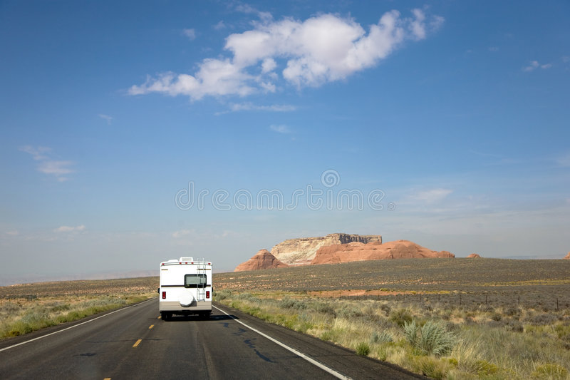 Recreational vehicle. On the road in Arizona, USA royalty free stock image