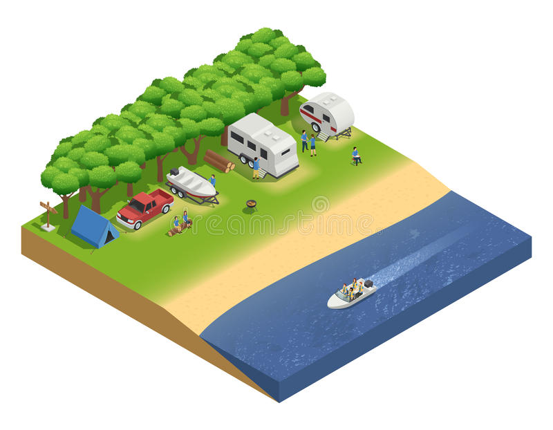 Recreational Vehicles On Beach Isometric Composition. With people and boat vector illustration stock illustration