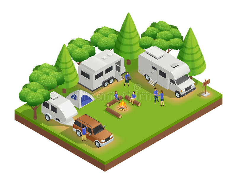 Recreational Vehicles Isometric Composition. With trailer people and forest vector illustration stock illustration