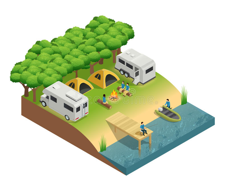 Recreational Vehicles At Lake Isometric Composition. With tent people and forest vector illustration royalty free illustration