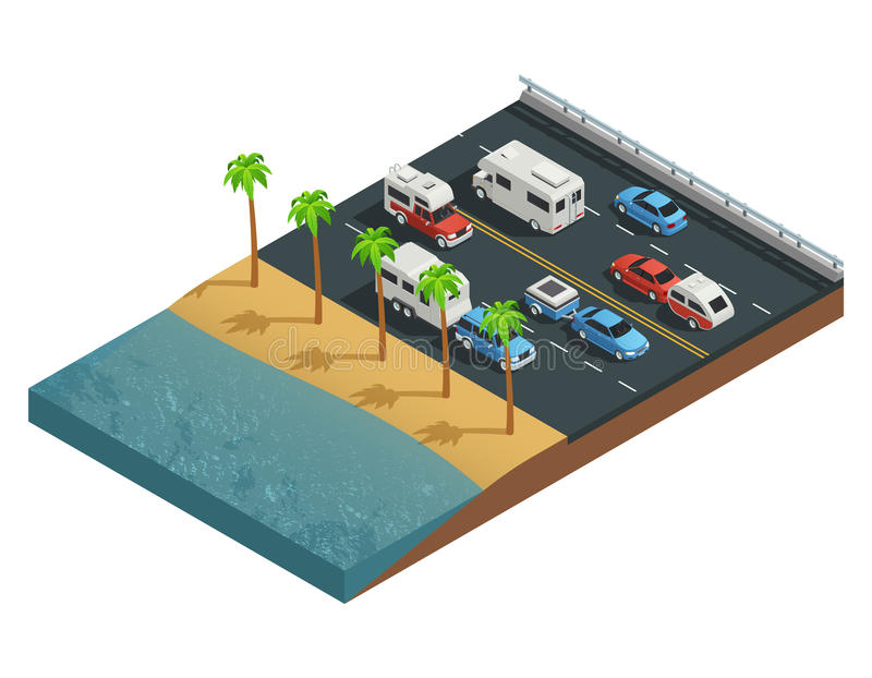 Recreational Vehicles On Road Isometric Composition. With trailer people and forest vector illustration royalty free illustration