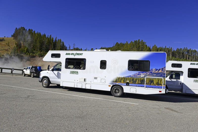 Recreational Vehicles or RVs in Yellowstone National Park. YELLOWSTONE NATIONAL PARK, WYOMING - CIRCA SEPTEMBER 2015. Recreational Vehicles or RVs are an stock photo
