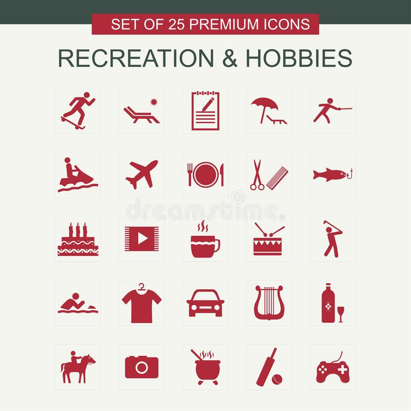 Recreations and Hobbies set of icons red vector illustration