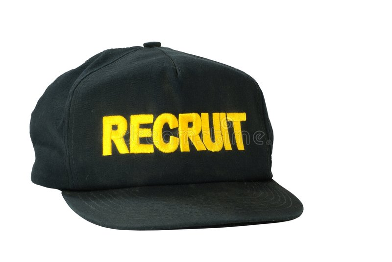 Recruit Ballcap. Isolated Military recruit baseball style cap with embroidered letters stock image