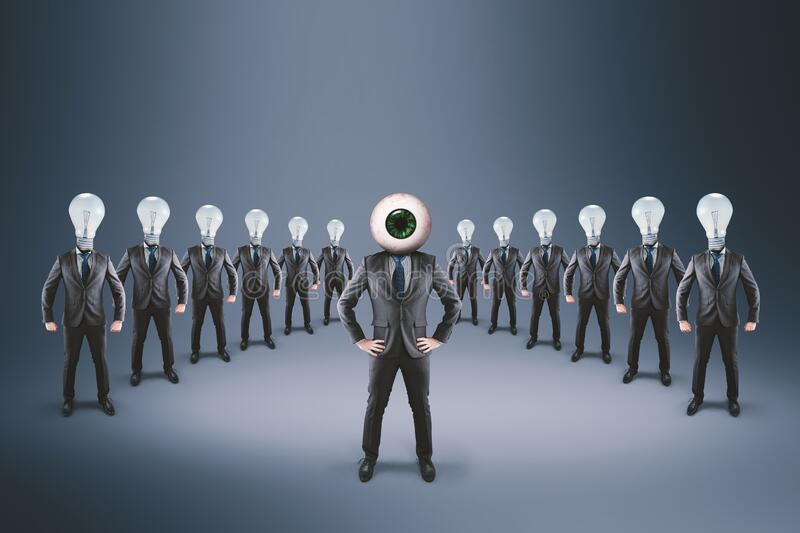 Recruit company team. Team of businessman with light bulbs in place of the head . Businessman with an eye instead of the head . Recruiting and hiring concept stock image