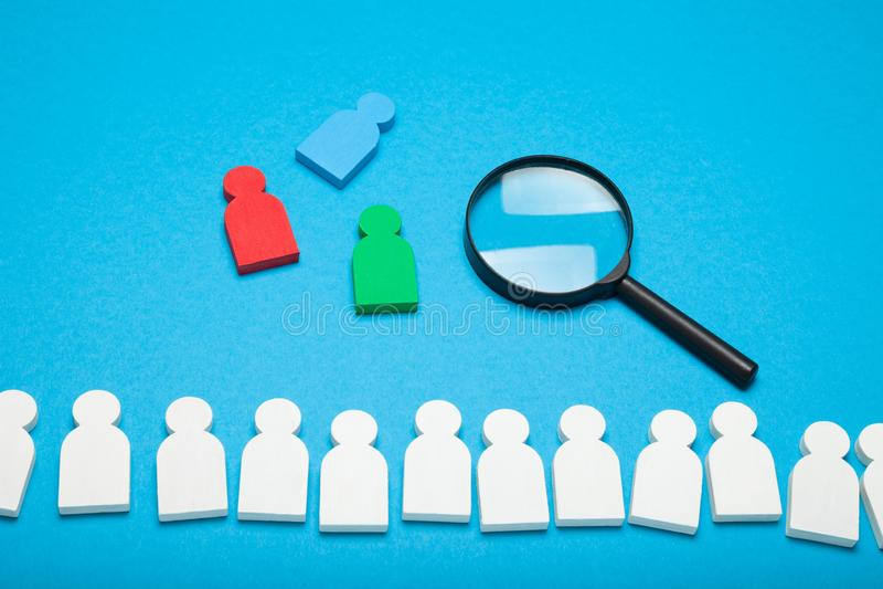 Recruit hire assessment. Choose talent, crm concept.  stock photos