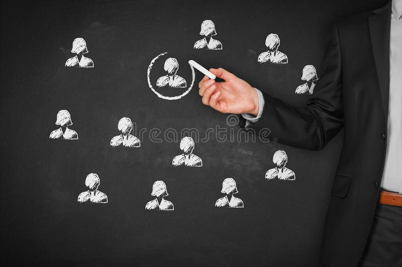 Recruit and hire human resources HR. Concept. Marketing segmentation, targeting, personalization, individual customer care service, customer relationship royalty free stock images