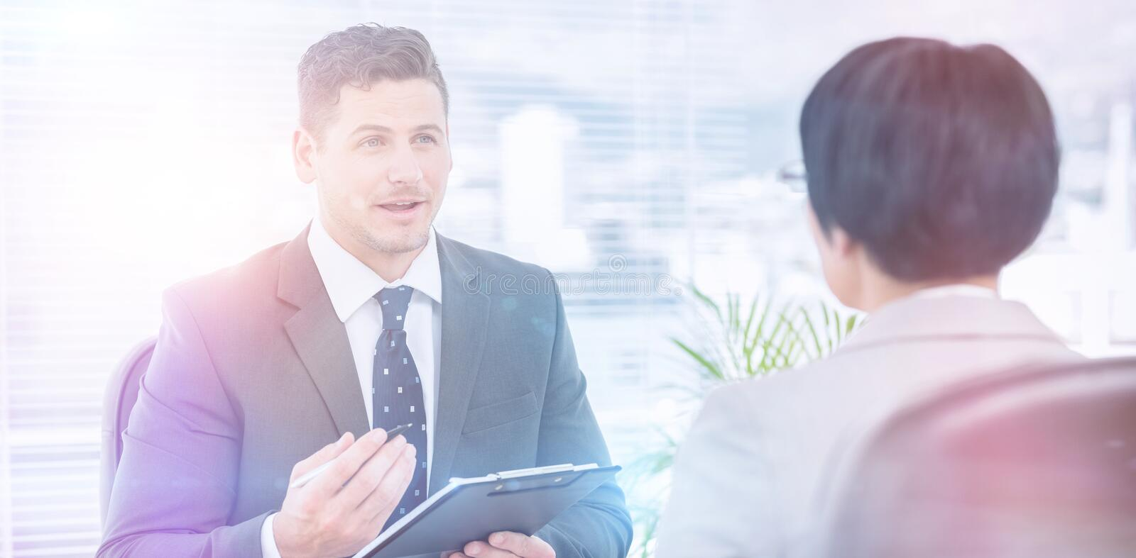 Recruiter checking the candidate during job interview stock image