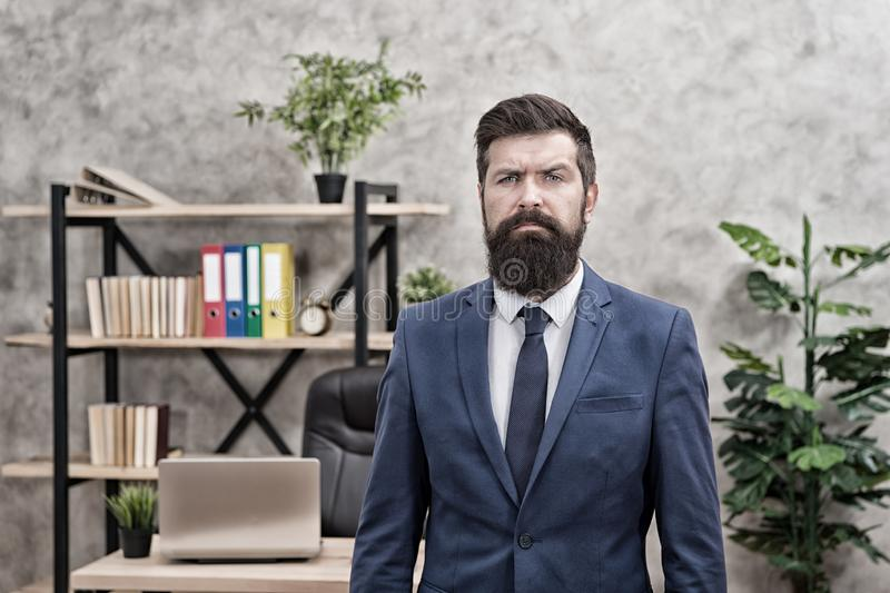 Recruiter professional occupation. HR manager. Man bearded manager recruiter in office. Recruiter career. Human. Resources. Hiring concept. Recruitment royalty free stock photo