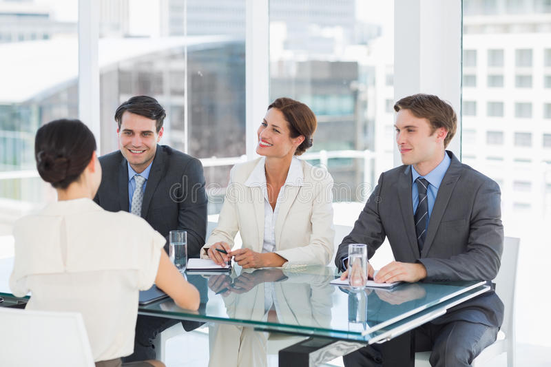 Recruiters checking the candidate during job interview royalty free stock photography