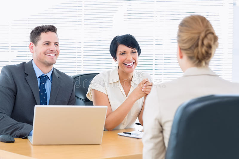 Recruiters checking the candidate during job interview royalty free stock image