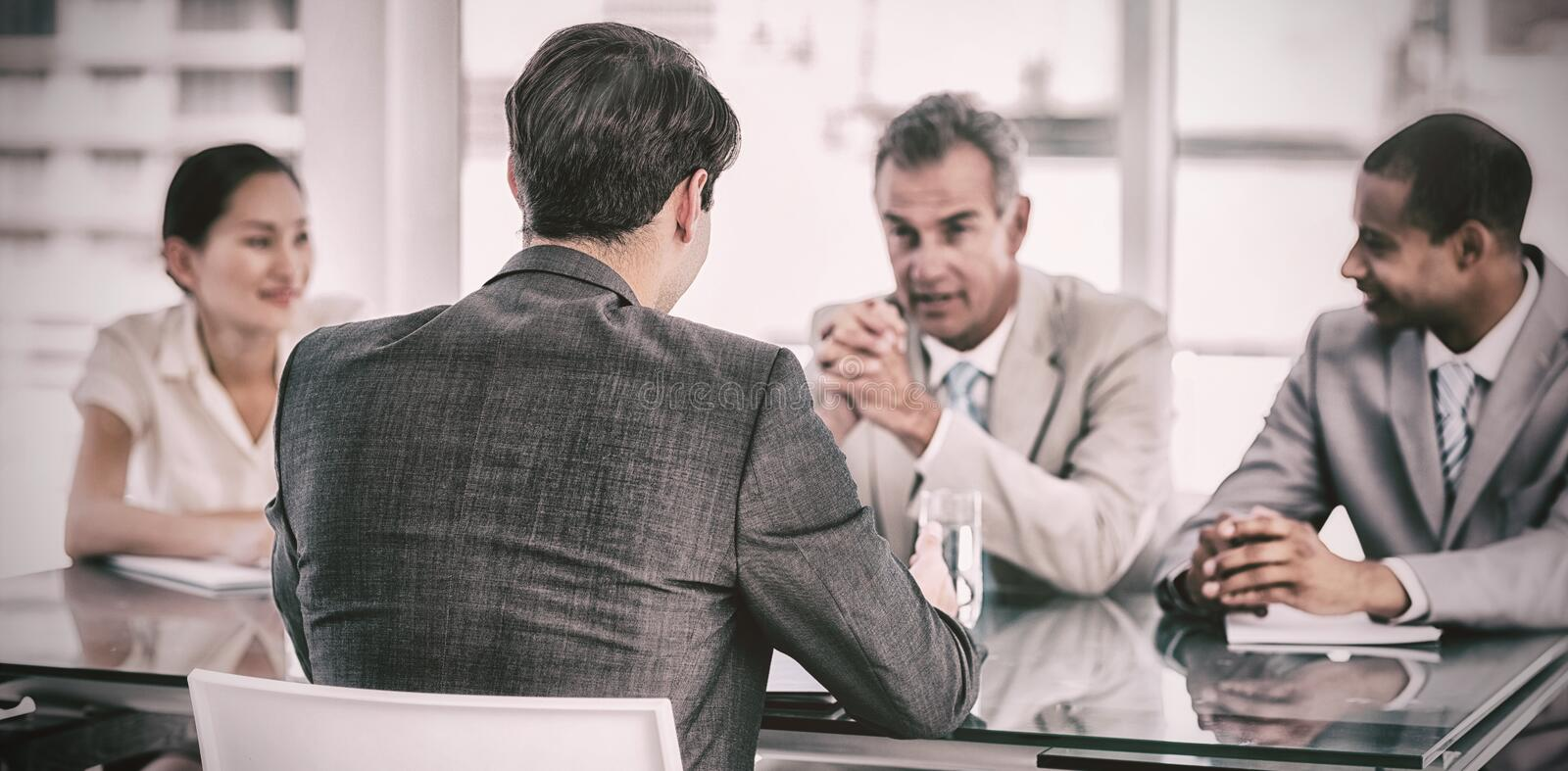 Recruiters checking the candidate during job interview stock photography