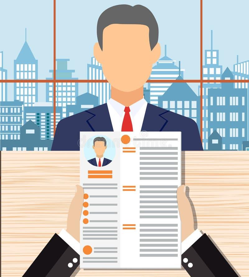 Recruiters hands holding cv in office vector illustration