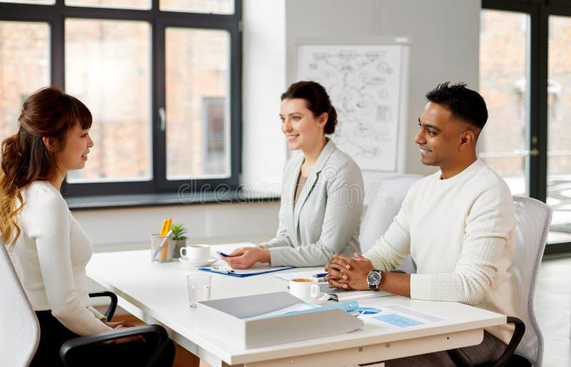 Recruiters having job interview with employee stock photo