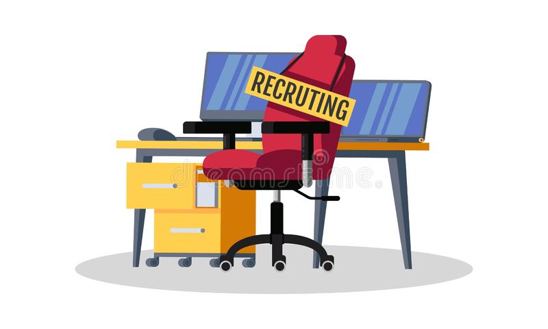 Recruiting candidates for office work. Talent, professionals wanted, we are hiring concept. Workplace for new employee royalty free illustration