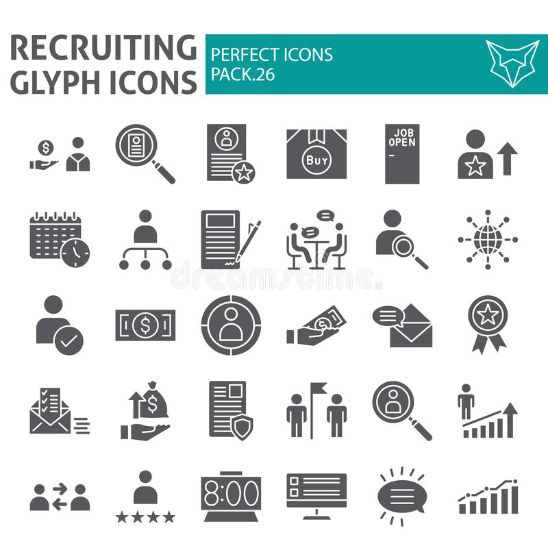 Recruiting glyph icon set, employment symbols collection, vector sketches, logo illustrations, job signs solid royalty free illustration