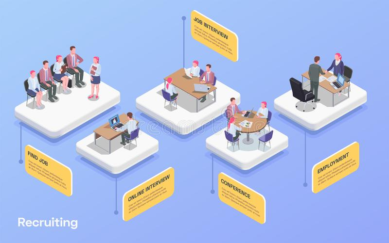 Recruiting Isometric Flowchart. Recruiting human resources flowchart with people looking for job communicating with hr specialists 3d isometric vector vector illustration
