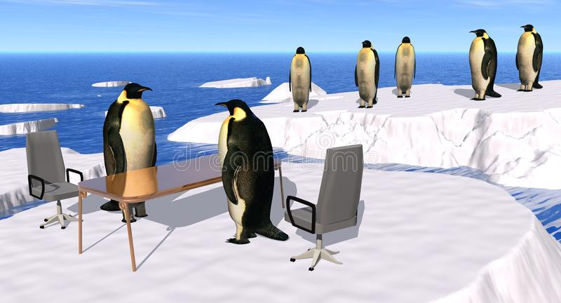 Recruiting Interview. Illustration of a recruiting Interview at the Penguin Company royalty free illustration